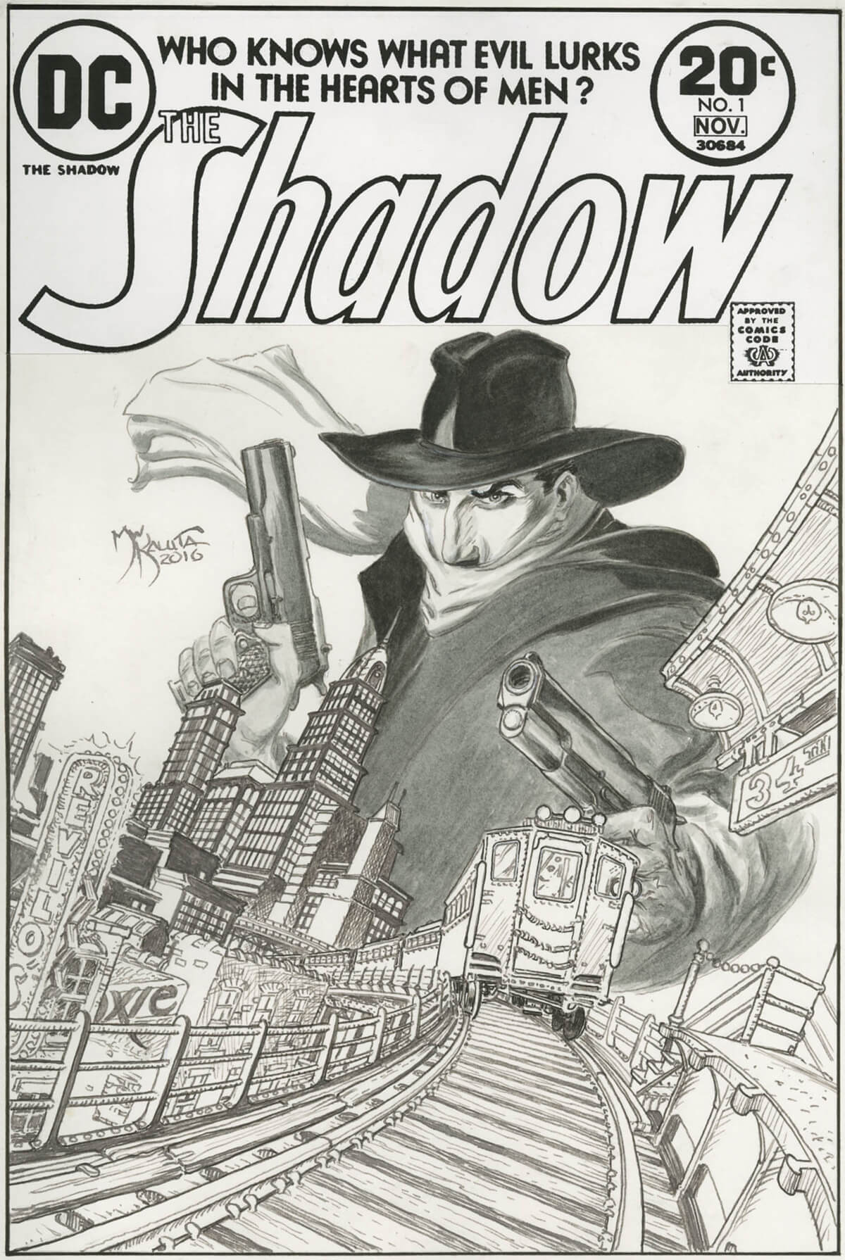 The Shadow 1 Cover Re-Creation by Michael Wm Kaluta