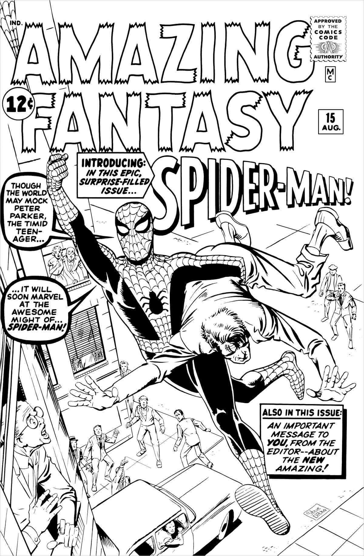 Amazing Fantasy 15 cover by Steve Ditko
