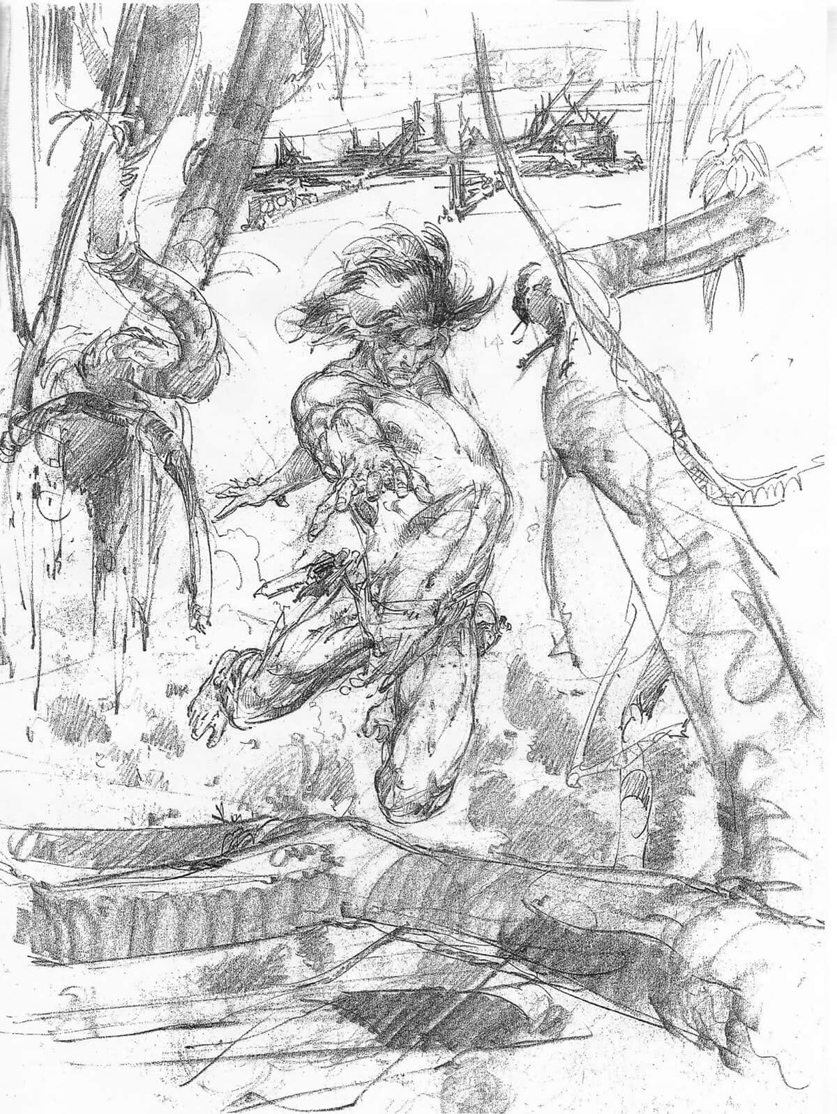 Neal Adams Tarzan Portfolio Cover Rough