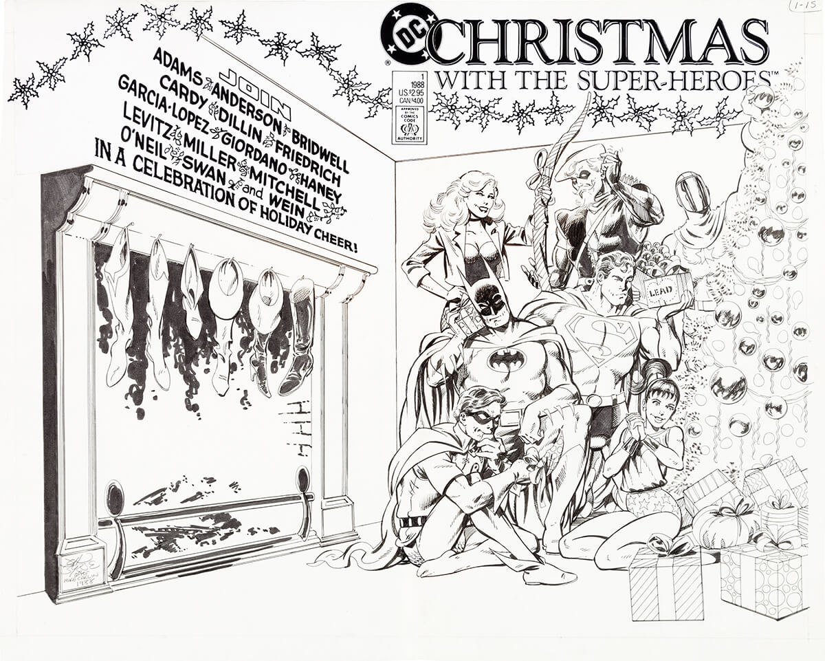 Christmas With The Super Heroes No 1 Cover by John Byrne