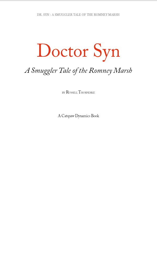 Dr. Syn A Smuggler Tale of the Romney Marsh