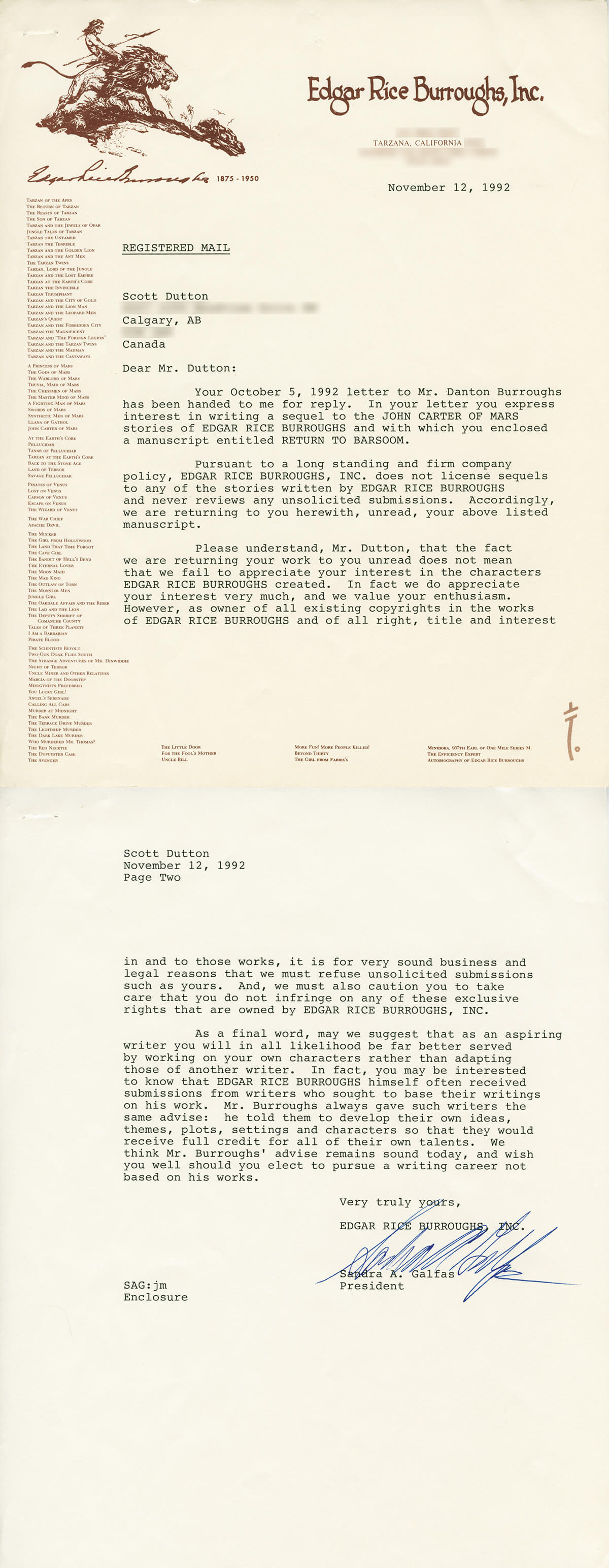 1992 Letter from Edgar Rice Burroughs Inc.