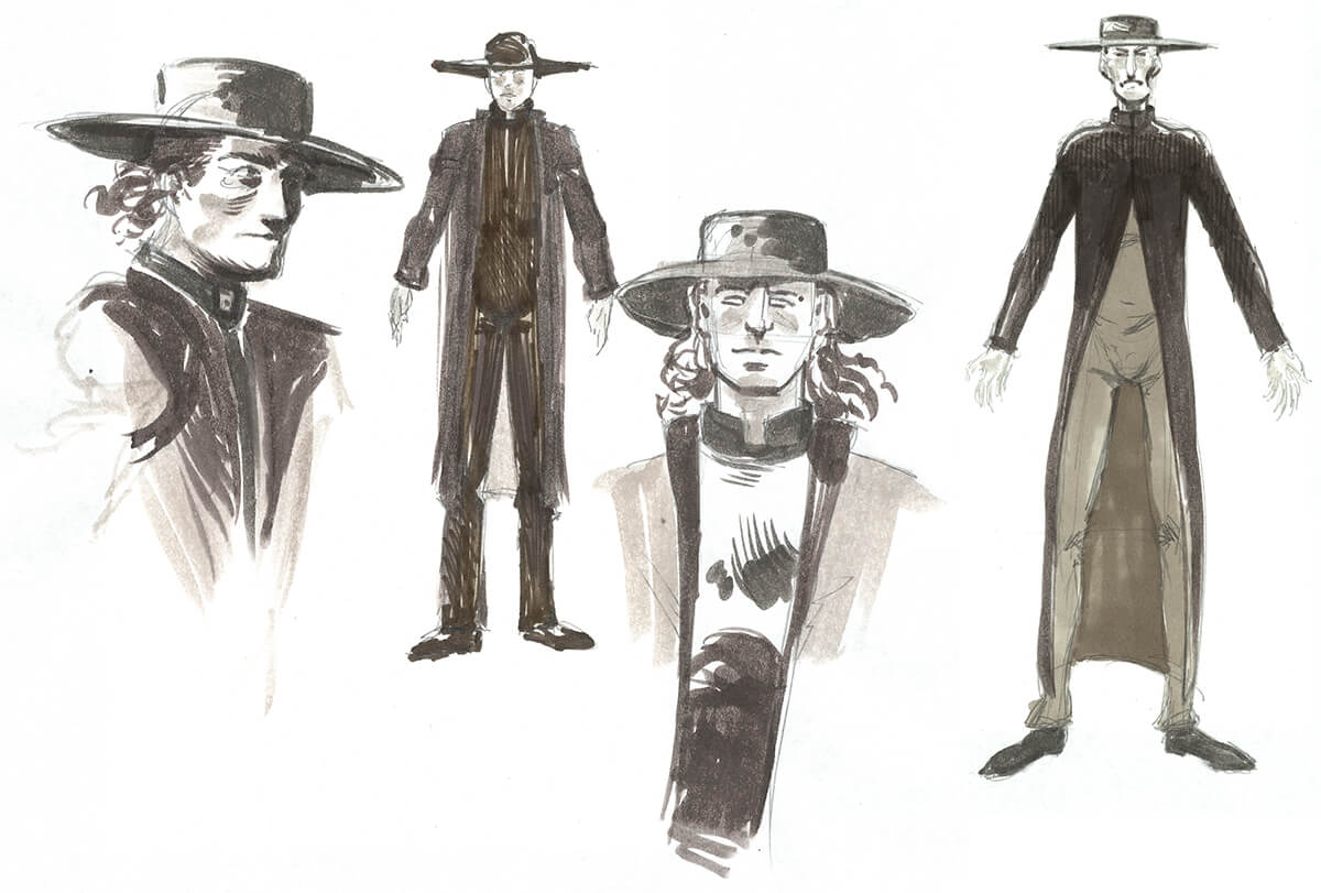 Starlost Cypress Corners Costume Sketches