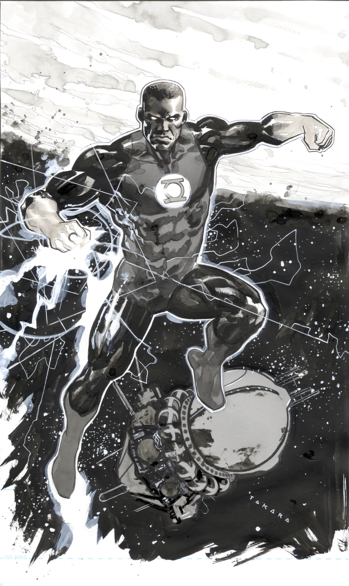 Green Lantern Ink Wash Drawing by Marcio Takara