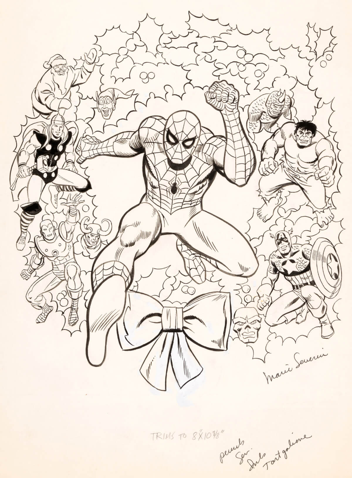 Marvel Super-Heroes Christmas Coloring Book Art
